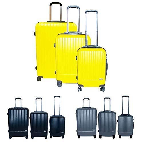 Calitek ABS 3-teiliges Koffer-Set mit Rollen und Schloss, gelb (Gelb) - CAL092