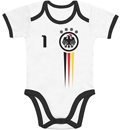 Shirtgeil Deutschland Weihnachten Fußball Trikot Baby Kurzarm Body 62/68 (3-6M) Black/White