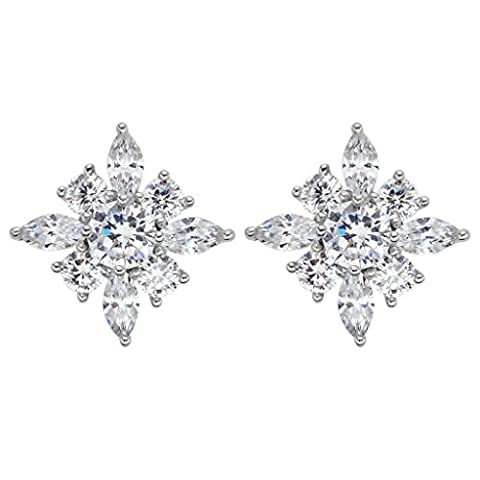 EVER FAITH® 925 Sterling Silber Cubic Zirkonia Gorgeous Marquise Form Blume Stud Ohrringe N07385-1