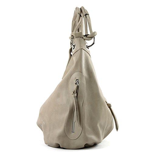 modamoda de - ital. Handtasche Damentasche Schultertasche Ledertasche Tasche Nappaleder Z18 Helltaupe