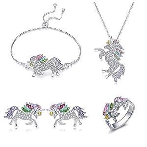 4er-Pack Einhorn-Halsketten-Schmuck-Set, Einhorn-Geschenk für Mädchen, Regenbogen-Einhorn-Halskette, Armband, Ohrringe, Ring, Einhorn-Schmuck für Mädchen und Frauen