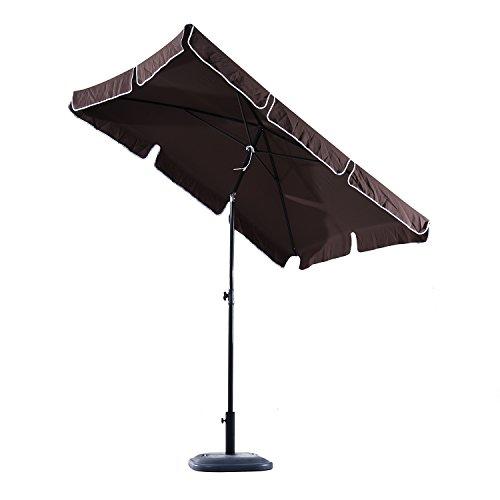 Outsunny Parasol rectangulaire inclinable alu Acier Polyester Haute densité diamètre 2 m Chocolat