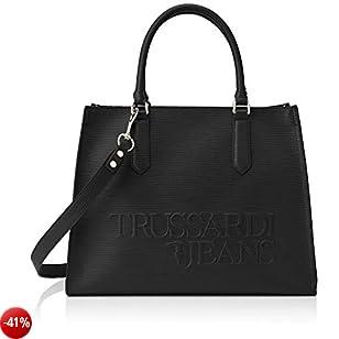 Trussardi Jeans T-tote Lg Saffiano High Freque Borsa Donna, Nero (Black) 38x29x17 cm (W x H x L)