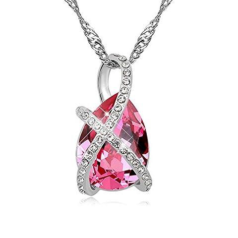 FANSING Schmuck Luxus Österreichischer Kristall Halskette Anhänger für Damen Mädchen Rose (Österreichischen Kostüm Puppen)