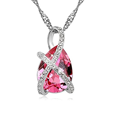 FANSING Jewellery Austrian Crystal 2.6cm*1.4cm Pendant Necklaces for Women Rose 40+5cm/16+2