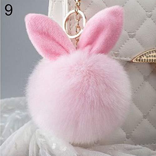 AchidistviQ - Llavero de Conejo Suave de Piel sintética con Bolas de pompón para Colgar en el Bolso del teléfono Rosa Rosa