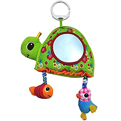 PER Baby Floor Activity Mirror Lovely Plush Turtle with Sound Discovery Mirror Toy