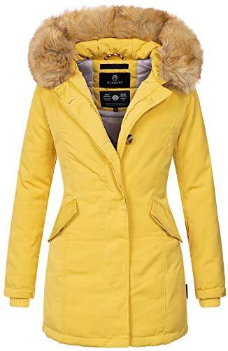 Marikoo Damen Winter Jacke Parka Mantel Winterjacke warm gefüttert B362 [B362-Karmaa-Gelb-Gr.L]