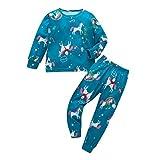 Yanhoo Christmas Pyjamas Set Weihnachtsmann Baumwolle Jungen Mädchen Kinder Pjs Kleinkind Steed Print Nachtwäsche