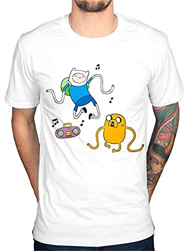 Adventure Time Radio T-Shirt Finn Jake Cartoon Land of Ooo White Size M - Land Pj