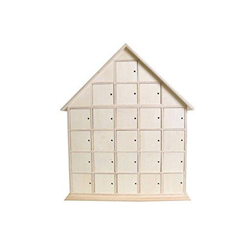 Artemio - Calendario de Adviento (44,5 x 35 x 7 cm, madera sin tratar), diseño de casa