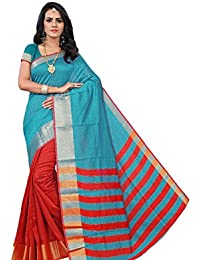 Krishna Enterprises Poly Cotton Silk Sky Blue And Red Color Women Saree, Ladies Saree 500 Rupees, Saree 200, Saree...