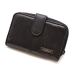 Womens Ladies Real Leather Purse Coin Pouch Wallet Case Black New (Black)