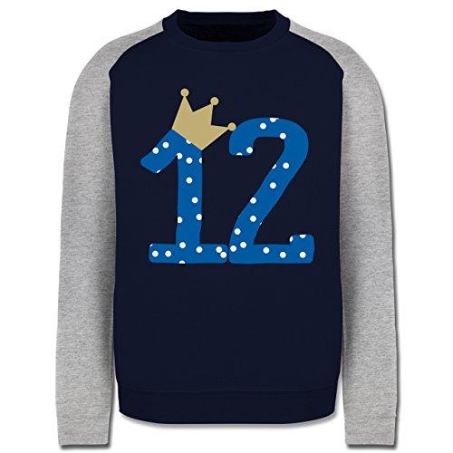 Geburtstag - 12. Geburtstag Krone Junge Zwölfter - Herren Baseball Pullover Navy Blau/Grau Meliert