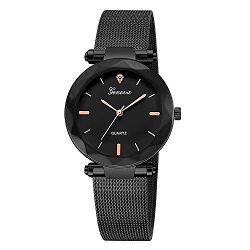 Damen Multi Zifferblatt Quarz Uhr mit Leder Armband Schwarz