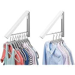 mDesign Barre de penderie escamotable pour la buanderie (Lot de 2) - Tringle à vêtements Pliable en métal pour Le Nettoyage Chimique - Portant pour vêtements Mural - Blanc