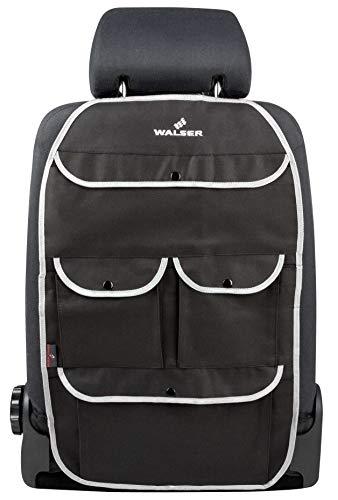 Walser 30032 Kinder Organizer, Rücksitztasche Lucky Tom in Schwarz/Grau | Autositzschoner mit Rücklehnenschutz | Rücksitzschoner für Autos