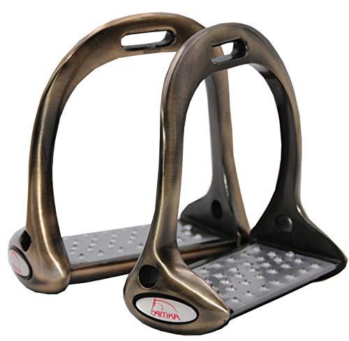 Reitsport Amesbichler AMKA Aluminium Steigbügel Balance rutschfeste Einlagen stabile + perfekte Haltung, Aluminium Stirrups, bresco=braun/Titan