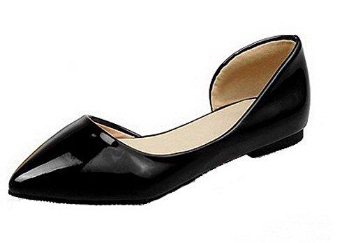 VogueZone009 Donna Luccichio Puro Scarpe A Punta Tacco Basso Tirare Ballerine Nero