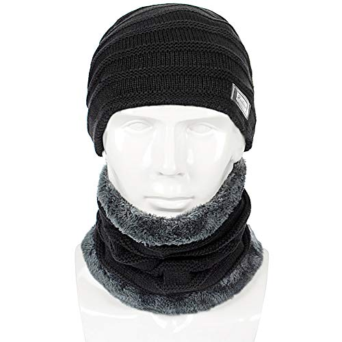 qianqian QIAN Winter Men Bib Hat Fleece Keep Warm Knitted Hat Cycling Windbreaker Outdoor Protection Cold Weather Wool Cap Set, Black