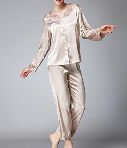 2017 Frau Beiläufig Tragen Langärmelige Spitze Pyjamaklage Camel