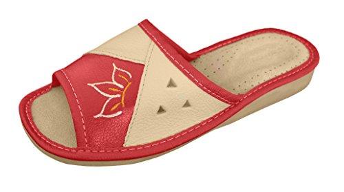 HAUSSCHUHE für damen 100% LEDER Pantoffeln | 91 (38, red)