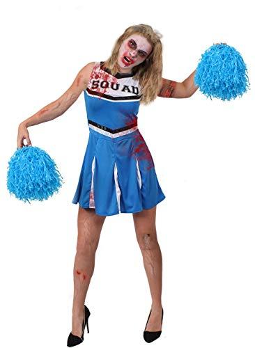 ILOVEFANCYDRESS Blaue Zombie Cheerleader KOSTÜM + Jumbo POM POMS + GESICHTSFARBE + GEFÄLSCHTE Blut - PERFEKT FÜR Halloween Damen KOSTÜM KOSTÜM Frauen AMERIKANISCHE JUBELNFÜHRER UNIFORM (X- GROß)