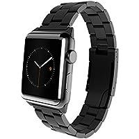 monowear mwmlbk20mtdg–Bracelet en Métal avec fermeture en acier inoxydable mat pour le Apple Watch 38mm, Couleur Noir
