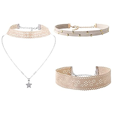YAZILIND 3 Layer Women Jewelry Collier Choker Ajustable Pierres Strass Leather Velvet Lace Star Pendentif Alloy Chain Choker (Beige)