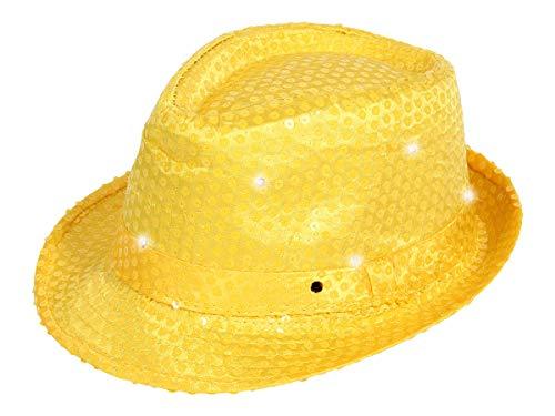 Alsino LED Pailetten Clubstyle Partyhut Trilby Pailletten Hut Blink Fedora Bogart Glitzerhut Glitter, Farbe wählen:TH-51 gelb