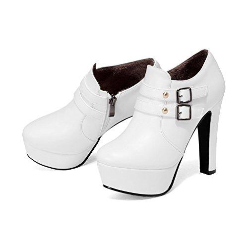 AllhqFashion Damen Low-Top Artifizielles Büffelleder Hoher Absatz Rund Zehe Stiefel Weiß