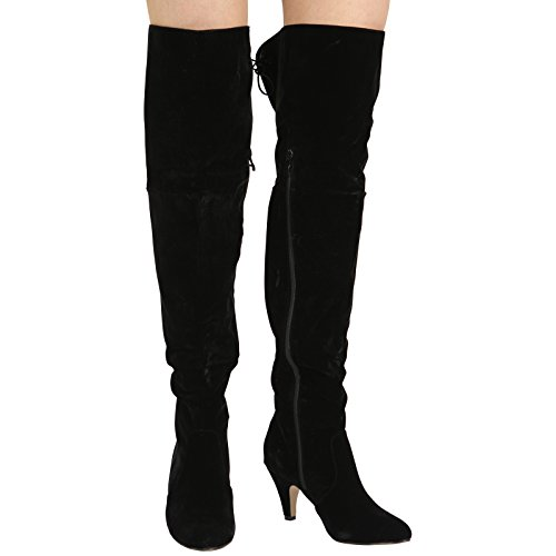 WOMENS LADIES THIGH HIGH STRETCHY OVER THE KNEE LACE UP MID HEEL...
