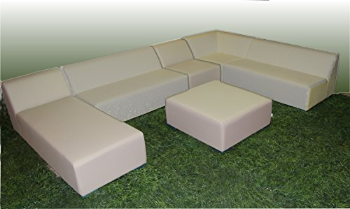 WOHNWERK! Lounge Möbel Serie MOOD! 6er Set - Absolut witterungsbeständig - (Grau, Material Stoff) Outdoor