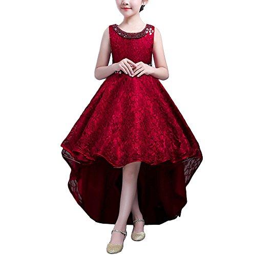 Mädchen Kinder Kleid Lang Brautjungfer Festlich Hochzeit Kleider Abendkleid Burgund 150 (Schöne Kleidung Kinder)