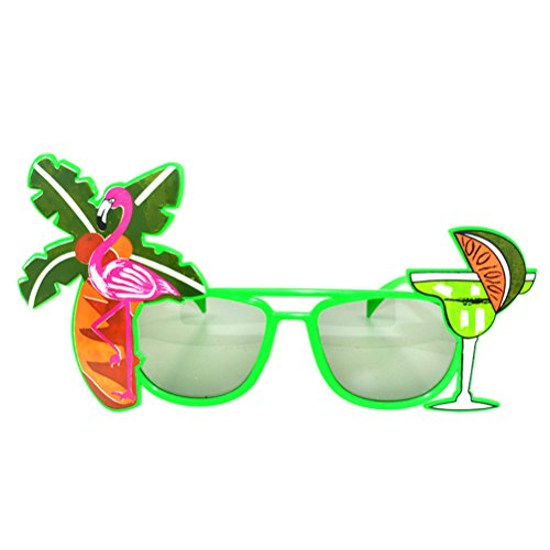 (LUOEM Flamingo Sonnenbrille Neuheit Kunststoff Photo Booth Gläser Zitrone Tasse Flamingo Kokospalme Dekoriert Sonnenbrille für Strand Luau Party für Kostüme Cosplay Requisiten Party Supplies)