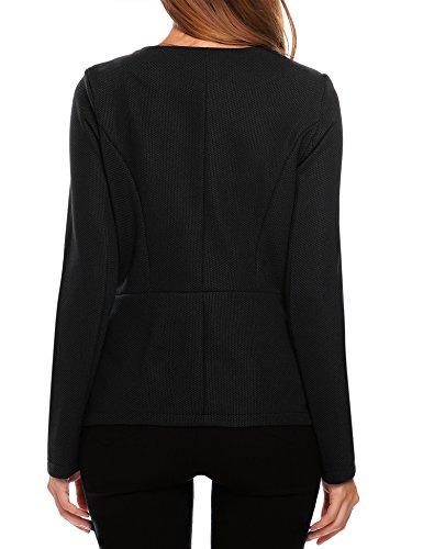 Finejo Damen Blazer mit Reißverschluss Kurzjacke Tailliert Jäckchen Business Jacket Mantel Tops Herbst Frühling Schwarz
