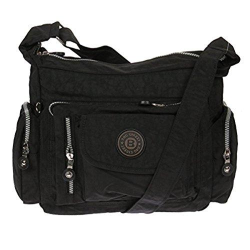 Bag Street Umhängetasche Bodybag Nylon grau schwarz
