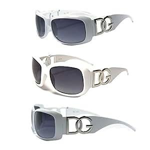 D.G DG ® Eyewear - White with Brown Smoke Mirror Flash Lens Ladies Designer Women's Sunglasses