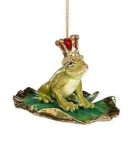 Good-will Statuetta a Forma di Principe ranocchio su Una Foglia di ninfea, in Ceramica, Verde Oliva