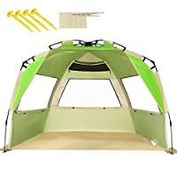 VCOSTORE Beach Tent Large Instant Beach Shelter 4 People with Sun Protection Design, Pop Up Waterproof Sun Shelter for Fishing Beach Adults Family(Autumn Green)