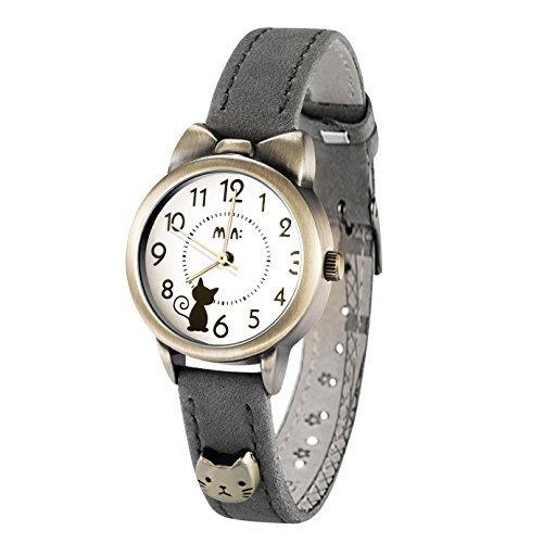 9b1ca4e5d651 Fq-234 Soft Leather Strap Bowknot Cute Kitty Girl s Women s Students Quartz  Wrist Watches Brown
