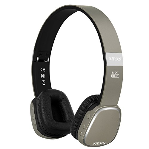 DUTISON Auriculares Bluetooth 4.1 con Micrófono Diadema con NFC Técnica,18 Horas de reproducción, Cascos Plegable Inalámbricos para PC TV y todos los teléfonos inteligentes - Gris