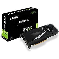 MSI GTX 1080 AERO 8G OC Scheda Grafica da 8 GB GDDR5X, 2560 Core, 1632MHz GPU, 1771MHz, Nero