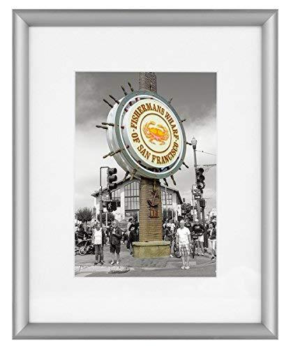 Edge 8x10 Foto (Frametory, Silber Aluminium Rahmen-Elfenbeinfarben Matte für Bild-Staffelei Stehen für Tisch Top-Drehgelenk Register-Glas Innen Vorne-Filet-Edge-Design 8x10 Silber)