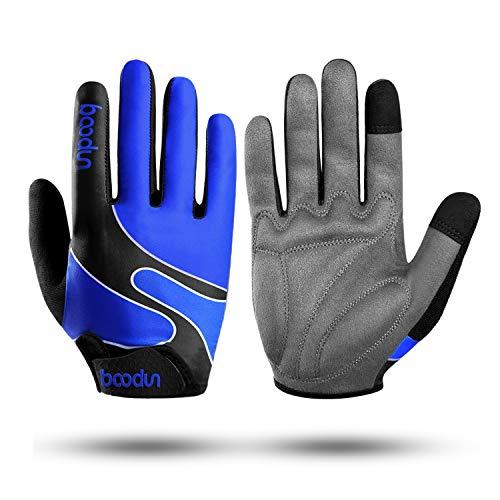 KONVINIT Fahrradhandschuhe Männer Frauen, Vollfinger Radhandschuhe Rutschfeste mit Touchscreen Finger für Radsport MTB Outdoor Sport in Blau S