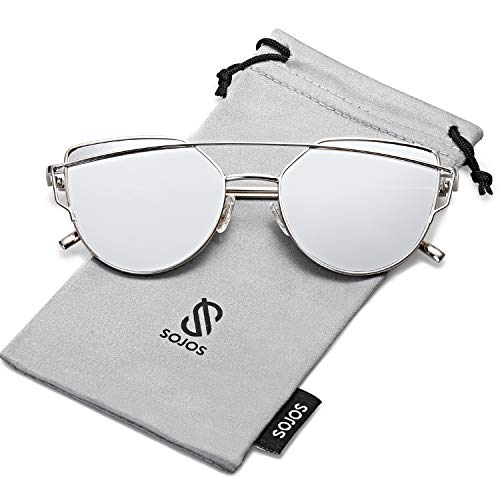 Sojos moda occhiali da sole donna specchiati moderni occhi di gatto vintage doppio ponte montatura in metallo sj1001 con argento telaio/argento specchio lente