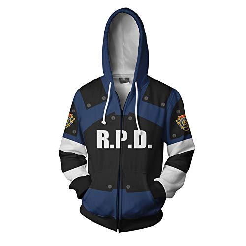 Frühling Herbst Kapuzenpullover Leon 3D Gedruckt Sweatshirt Cosplay Kostüm Jacke Reißverschluss Mantel Männer Kleidung