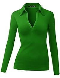 thanth Mujer Cuello De Polo Deep Jersey de cuello Casual Blusa Top