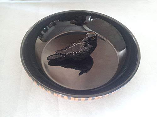 YUWANW Europäische und amerikanische schwarze Krähen runden kreatives Funktionstablett des tiefen Teller-Süßigkeits-Plattenschwarz-Porzellans - Halloween