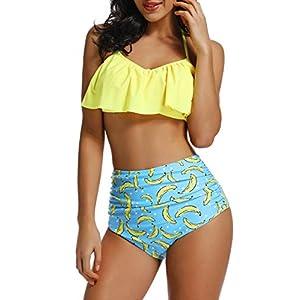 INSTINNCT Costume da Bagno Bikini Volant Donna a 2 Pezzi con Vita Alta Vintage Push Up Balze Ruffled Mare Mutande… 2 spesavip